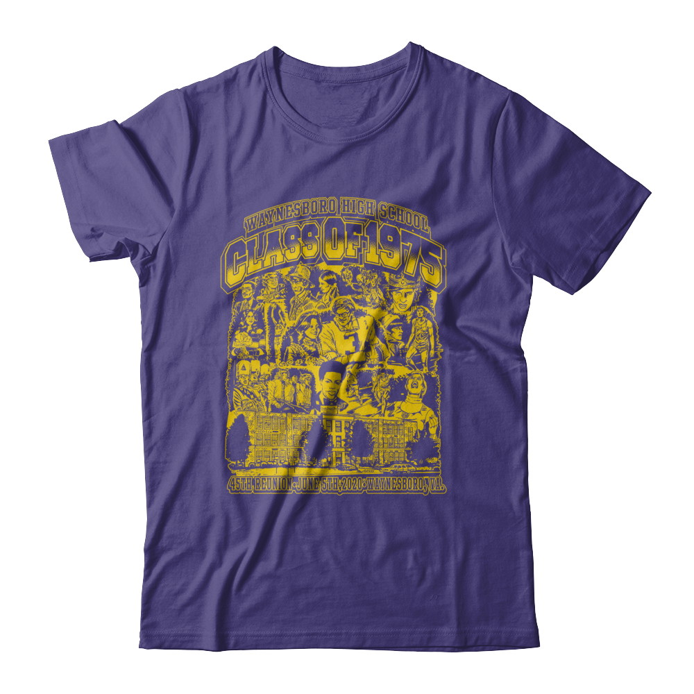 WHS Class Of '75 T-shirt by Tom Arvis (Purple T)