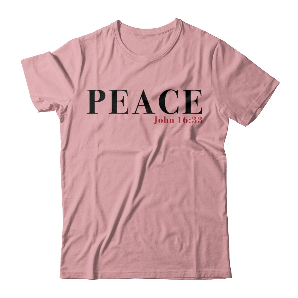 """""""Peace"""" Red Letters Short Sleeve Tee - Light"""