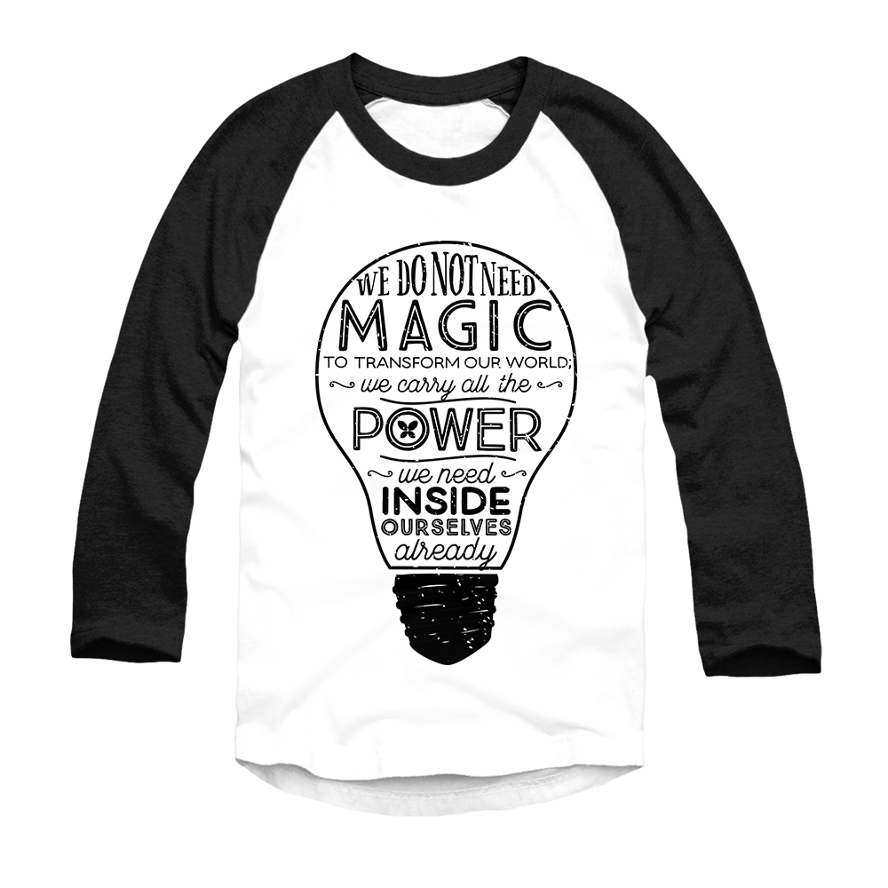 T shirt white black - Official Lumos Be The Light T Shirt