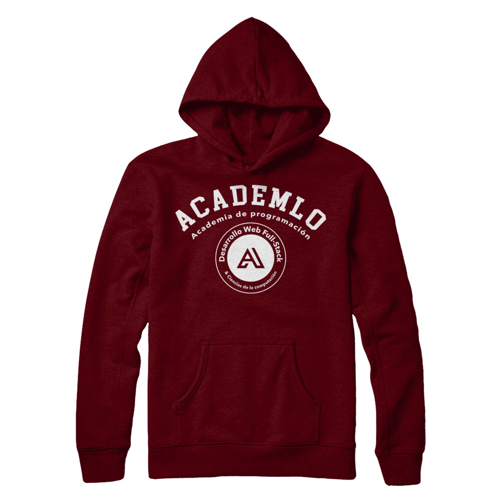 Academlo - Hoodie roja o negra, Logo blanco V1