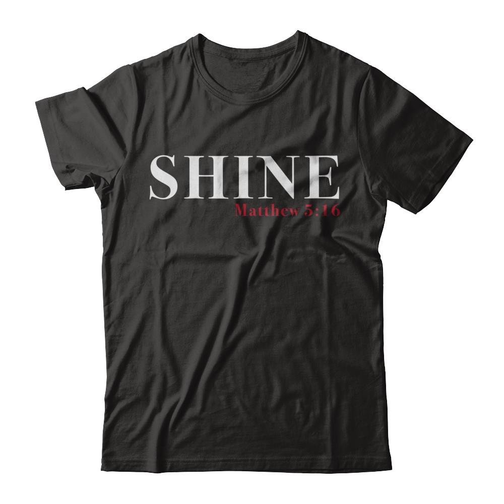 """Shine"" Red Letters Short Sleeve Tee - Dark"