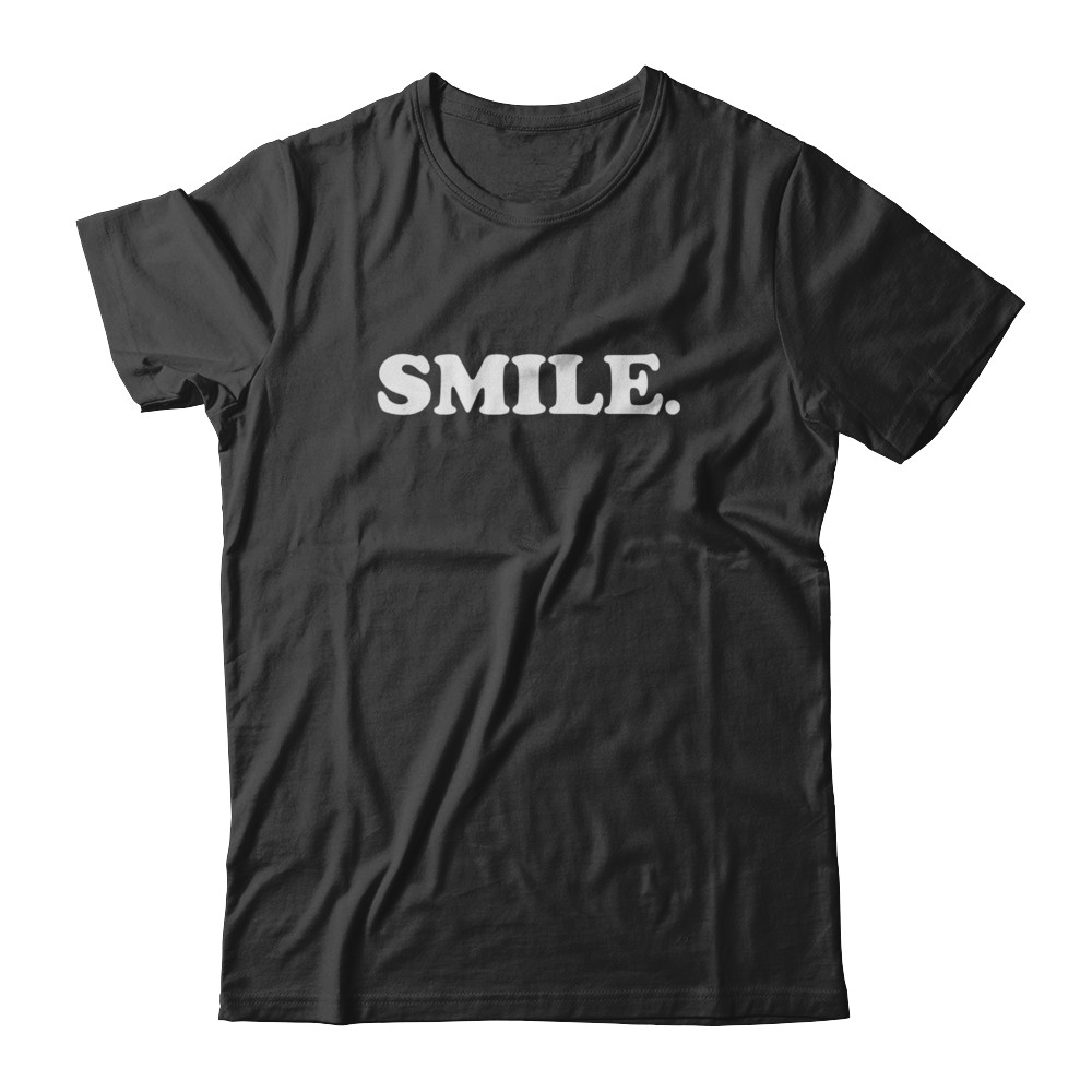 SMILE Black And White Unisex Fitted Tee