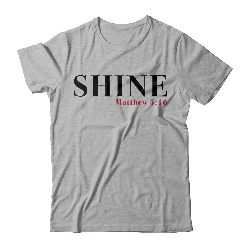"""Shine"" Red Letters Short Sleeve Tee - Light"