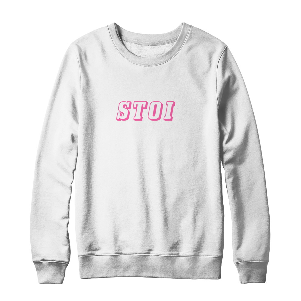 STOI Collection Pink & White Crewneck