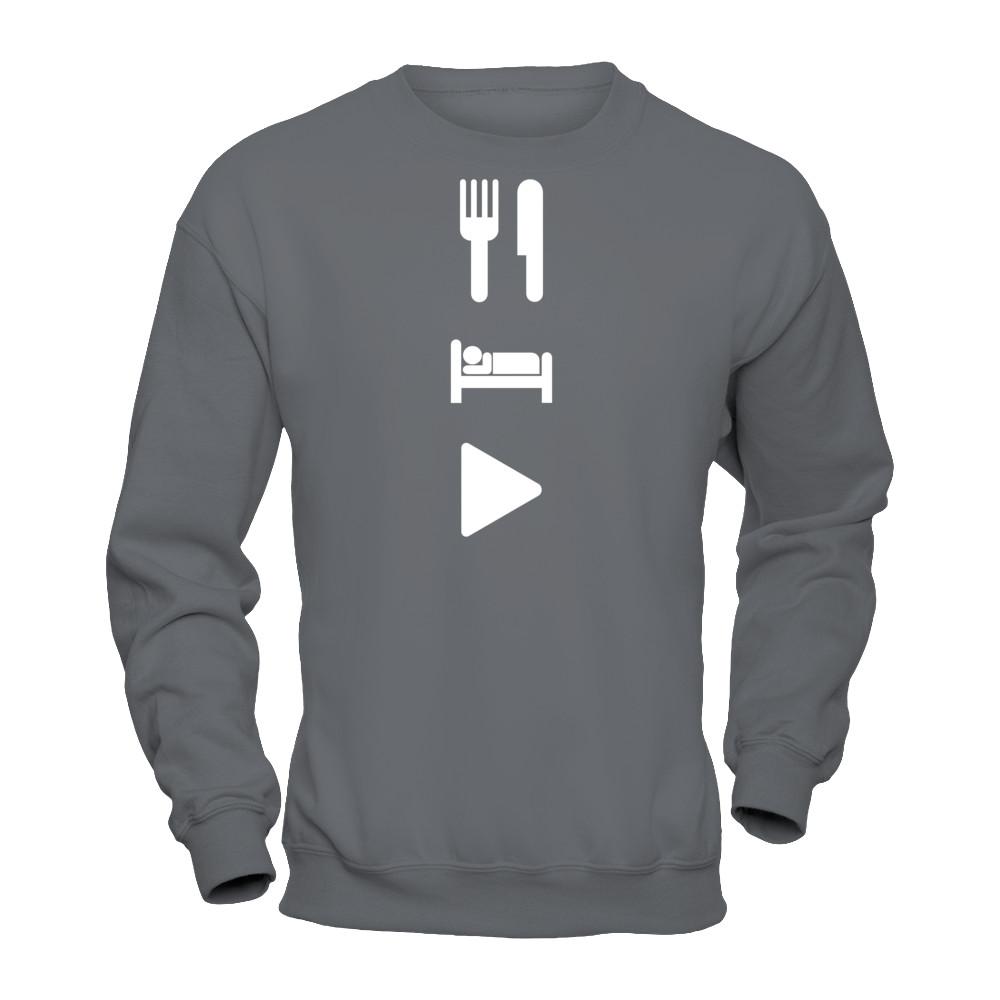 eat sleep play charcoal gildan pullover sweatshirt
